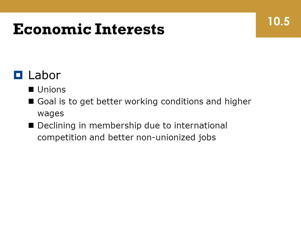 Economic Interests  Labor Unions Goal is to get better working conditions and higher wages Declining in membership due to international competition and better non-unionized jobs 10.5