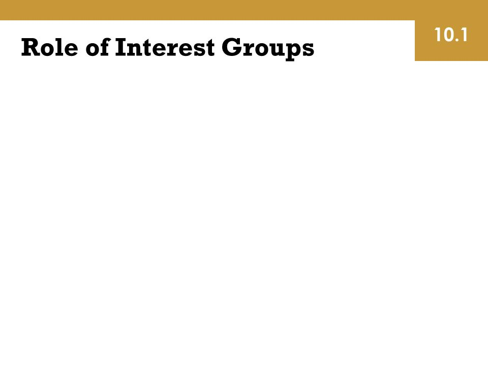 Role of Interest Groups 10.1