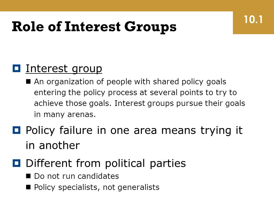 Role of Interest Groups  Interest group An organization of people with shared policy goals entering the policy process at several points to try to achieve those goals.