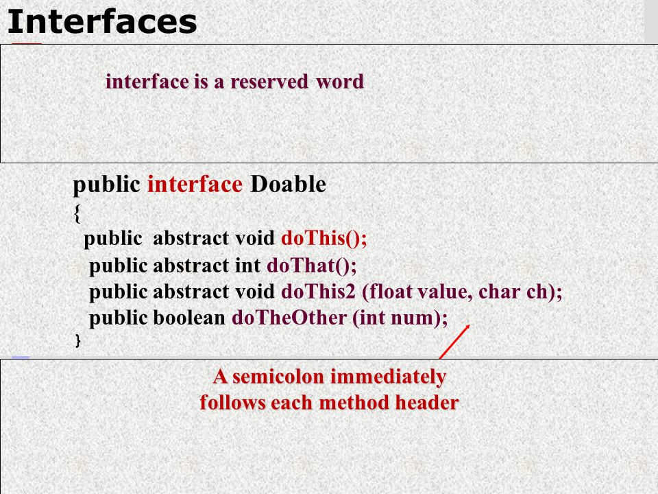 12 Interfaces public interface Doable { public abstract void doThis(); public abstract int doThat(); public abstract void doThis2 (float value, char ch); public boolean doTheOther (int num); } interface is a reserved word interface is a reserved word A semicolon immediately follows each method header