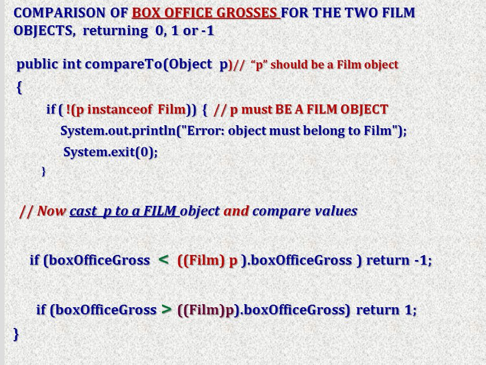 COMPARISON OF BOX OFFICE GROSSES FOR THE TWO FILM OBJECTS, returning 0, 1 or -1 public int compareTo(Object p )// p should be a Film object public int compareTo(Object p )// p should be a Film object { if ( !(p instanceof Film)) { // p must BE A FILM OBJECT if ( !(p instanceof Film)) { // p must BE A FILM OBJECT System.out.println( Error: object must belong to Film ); System.out.println( Error: object must belong to Film ); System.exit(0); System.exit(0); } // Now cast p to a FILM object and compare values // Now cast p to a FILM object and compare values if (boxOfficeGross < ((Film) p ).boxOfficeGross ) return -1; if (boxOfficeGross < ((Film) p ).boxOfficeGross ) return -1; if (boxOfficeGross > ((Film)p).boxOfficeGross) return 1; if (boxOfficeGross > ((Film)p).boxOfficeGross) return 1;}