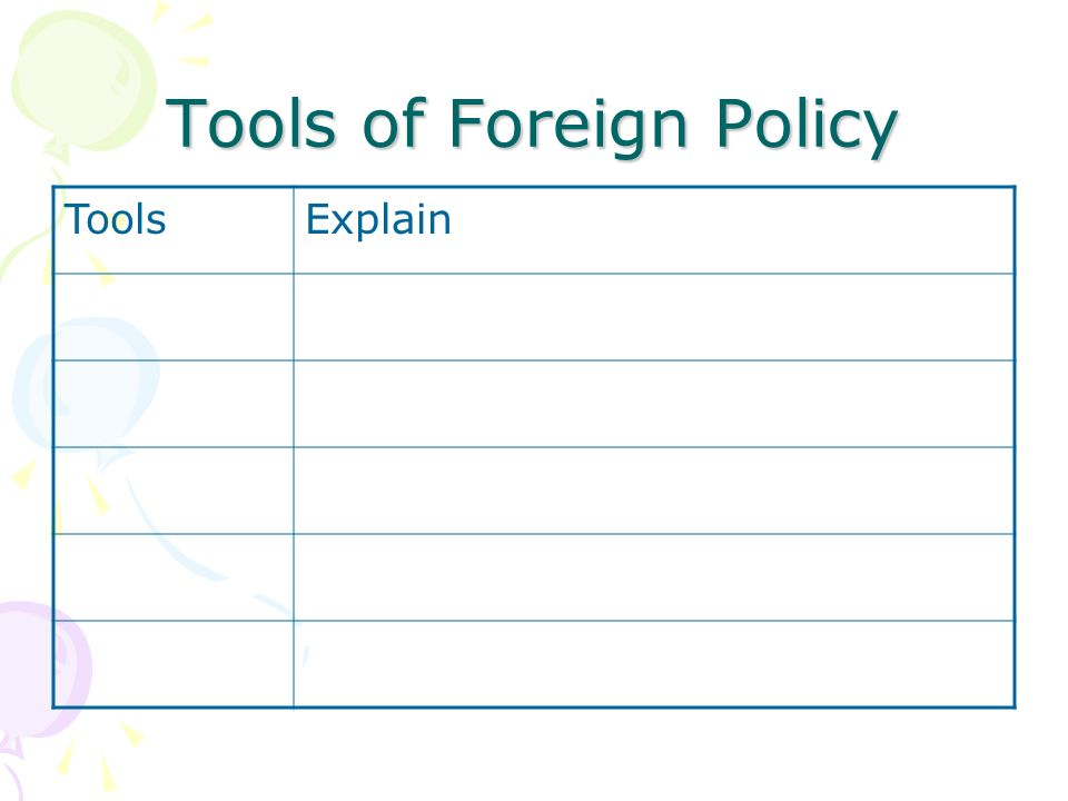 Tools of Foreign Policy ToolsExplain