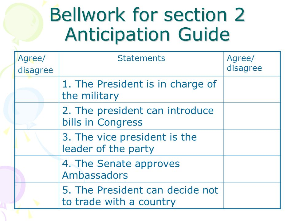 Bellwork for section 2 Anticipation Guide Agree/ disagree StatementsAgree/ disagree 1.