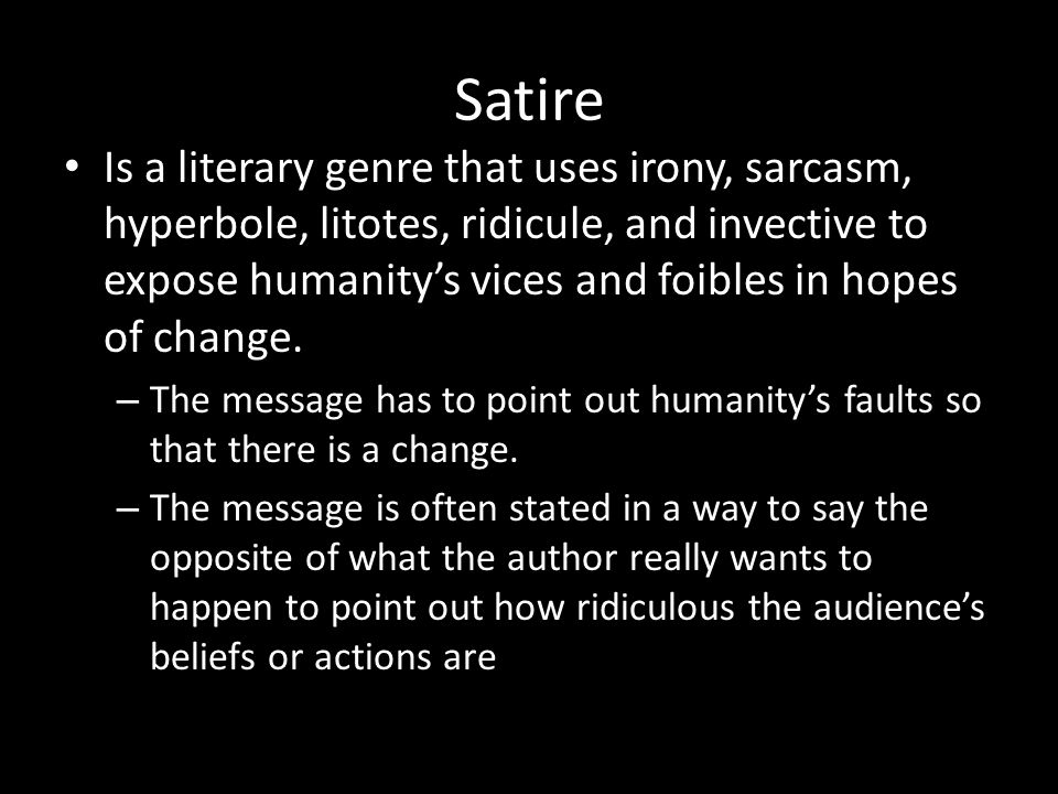Elements Of Satire Objective To Recognize And Analyze The