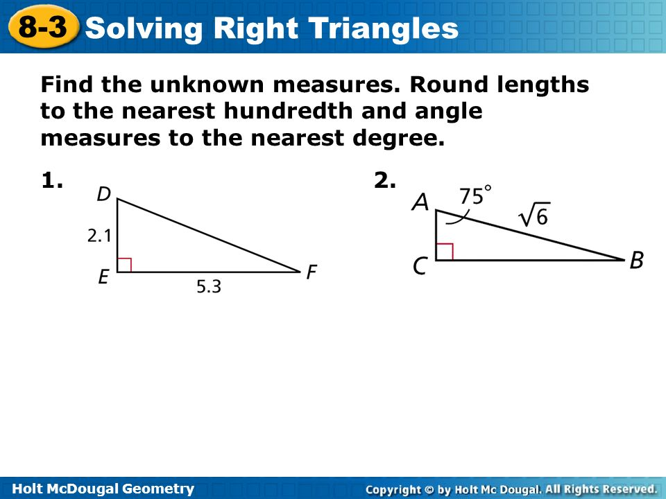 Printables of Solving Right Triangles Worksheet Holt - Geotwitter ...