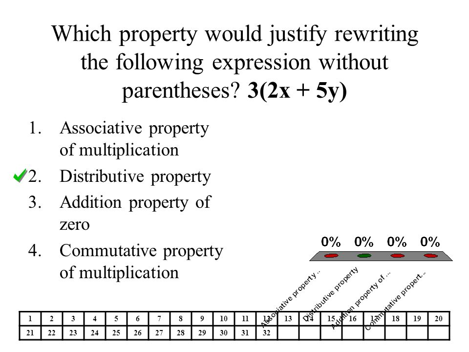 Which property would justify rewriting the following expression without parentheses.