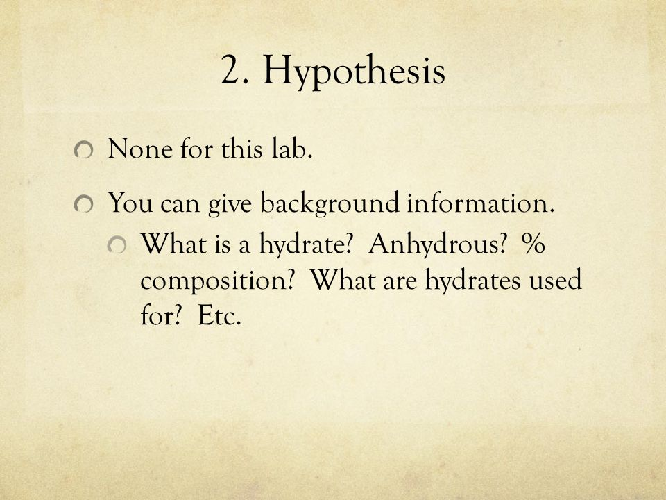 formula of a hydrate lab report