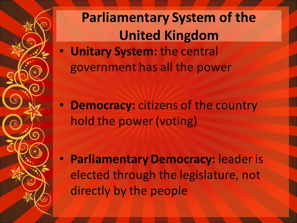 parliamentary government a gateway to good The main difference between a parliamentary and presidential system of government is that in a presidential system, the president is separate from the legislative body, but in a parliamentary system, the chief executive, such as a prime minister, is part of the legislative body, or parliament.