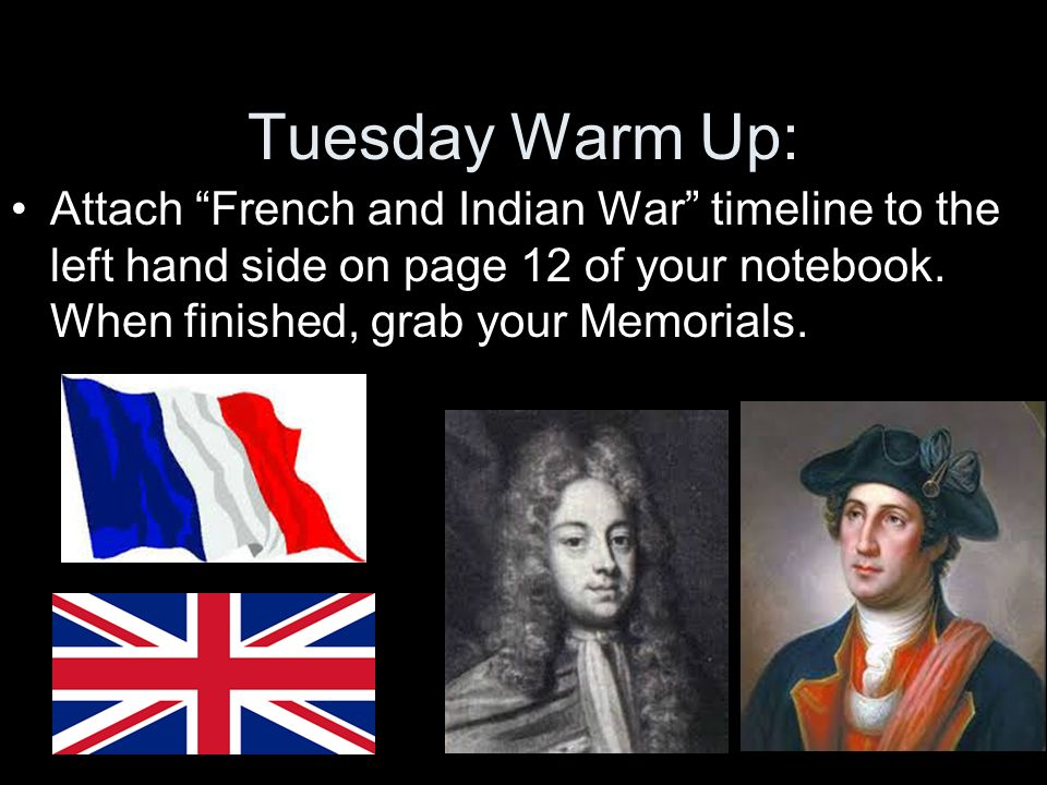 Tuesday Warm Up: Attach French and Indian War timeline to the left hand side on page 12 of your notebook.