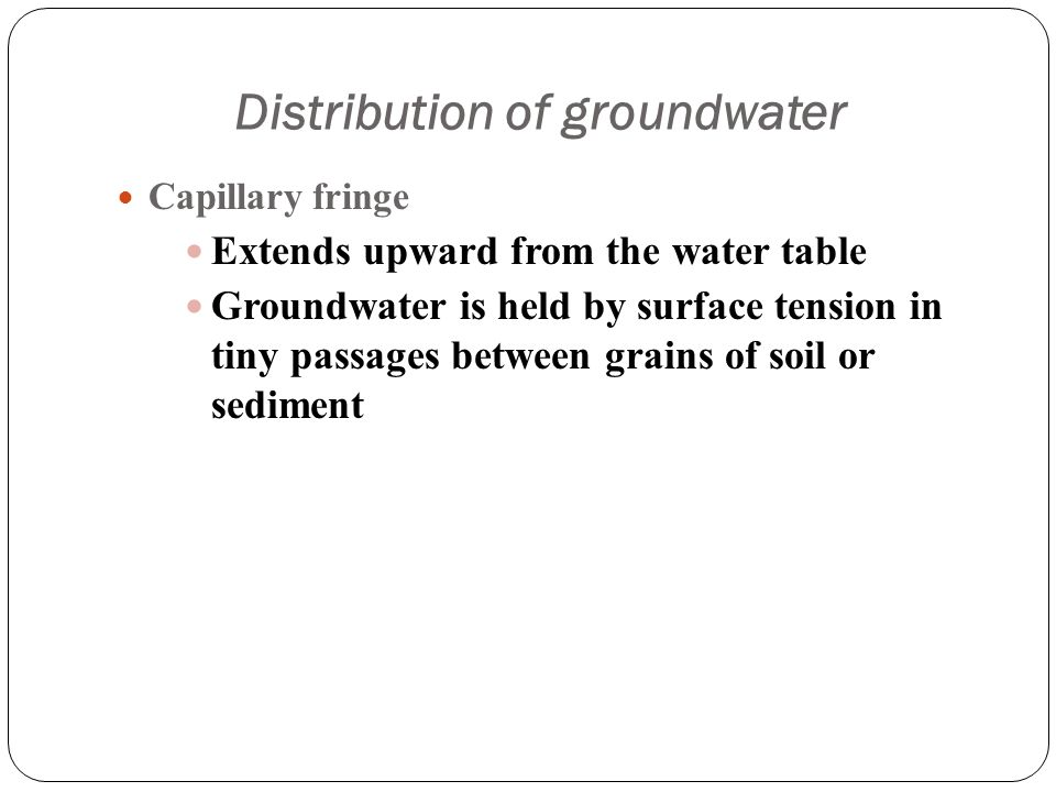 Chapter 17 Groundwater Importance Of Is. 14 Distribution Of Groundwater Capillary Fringe Extends Uard From The Water Table Is Held By Surface Tension In Tiny Passages Between Grains. Worksheet. Worksheet 2 Groundwater Vocabulary Quiz At Clickcart.co