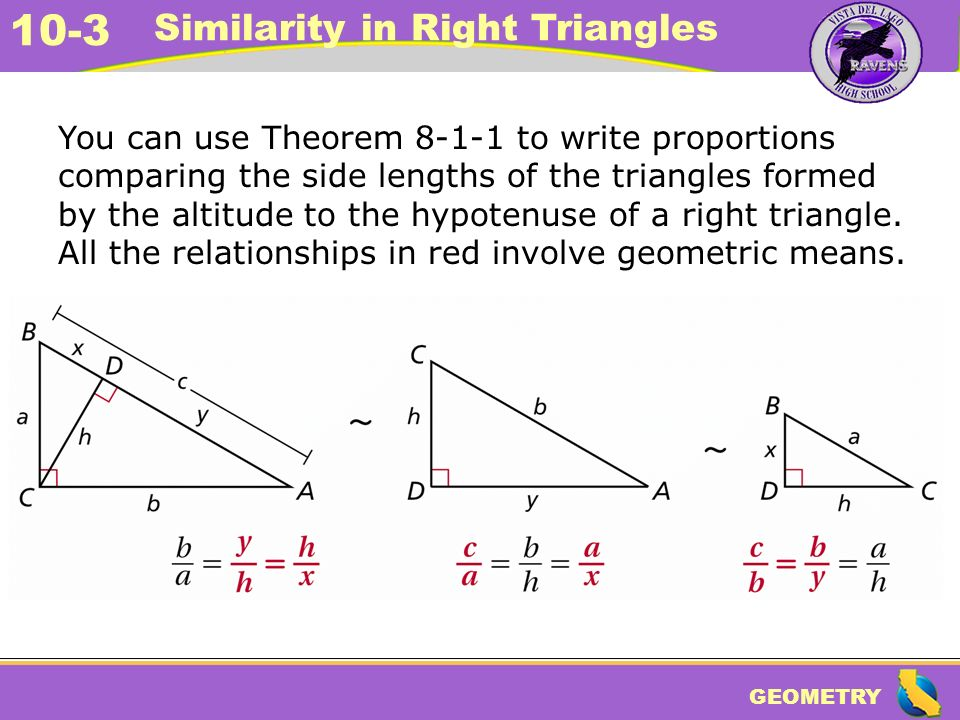 GEOMETRY 10 3 Similarity In Right Triangles Warm Up Warm Up