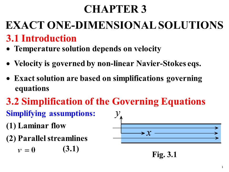 CHAPTER 3 EXACT ONE-DIMENSIONAL SOLUTIONS 3 1 Introduction