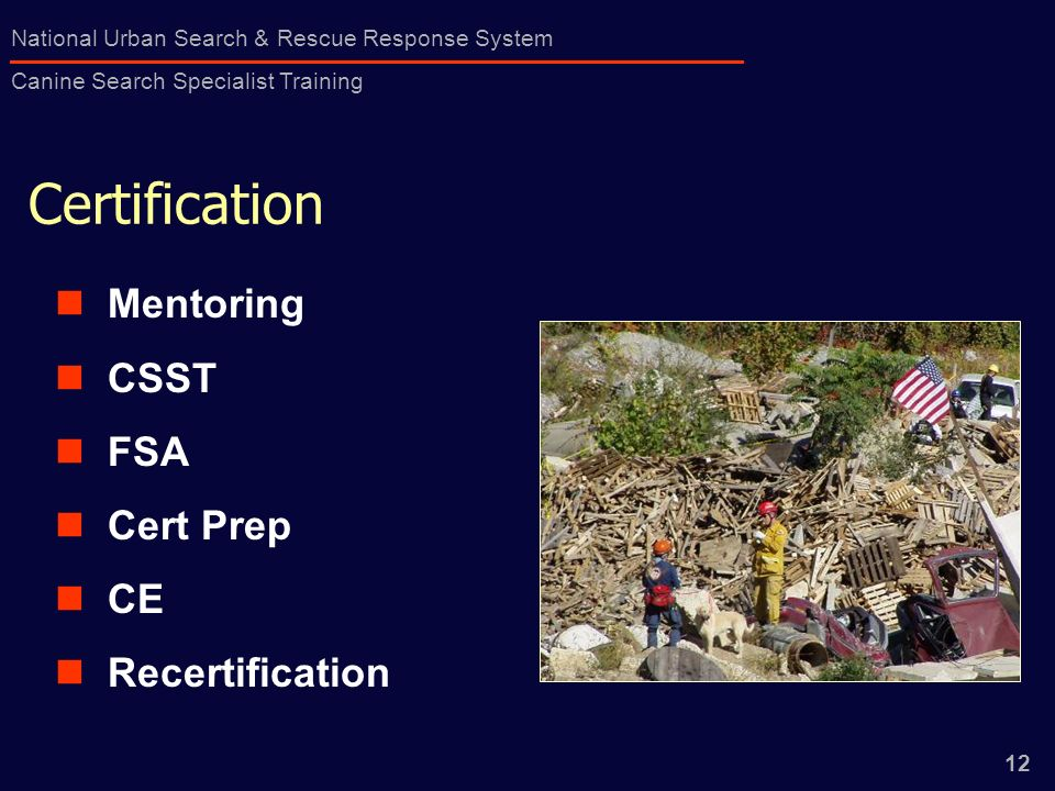 1 National Urban Search & Rescue Response System Canine Search ...