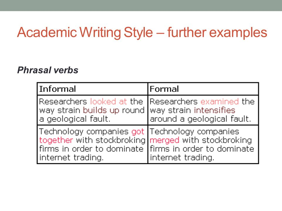 40 Academic Writing Style Further Examples Phrasal Verbs