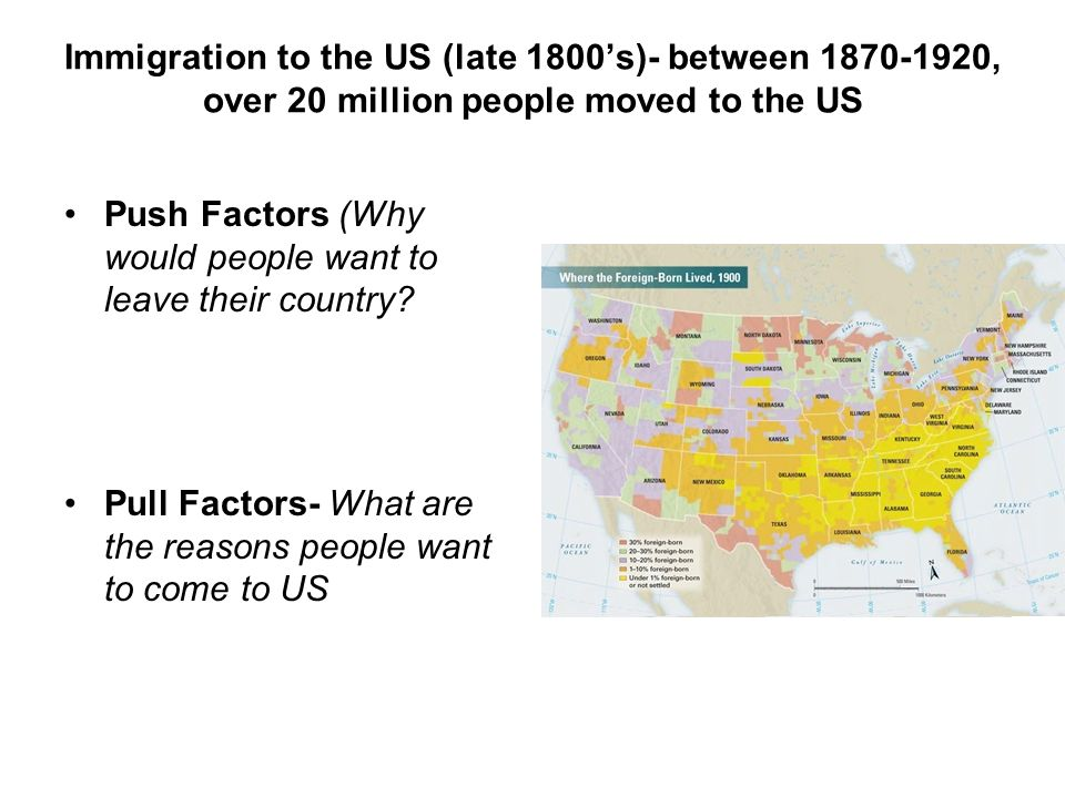 Immigration to the US (late 1800's)- between , over 20 million people moved to the US Push Factors (Why would people want to leave their country.