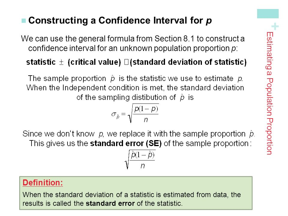 + Constructing a Confidence Interval for p We can use the general formula from Section 8.1 to construct a confidence interval for an unknown population proportion p : Estimating a Population Proportion Definition: When the standard deviation of a statistic is estimated from data, the results is called the standard error of the statistic.