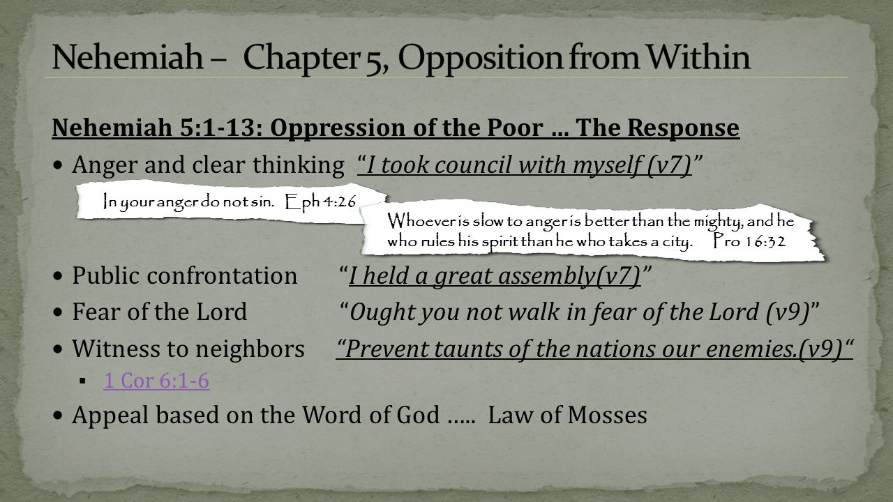 Opposition and Obstacles from Within  Chap 1 – Nehemiah, a