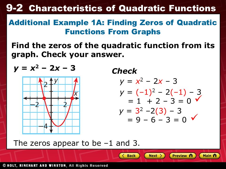 9 2 Characteristics Of Quadratic Functions Recall That An X