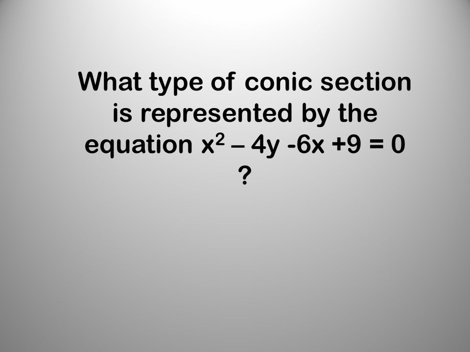 What type of conic section is represented by the equation x 2 – 4y -6x +9 = 0
