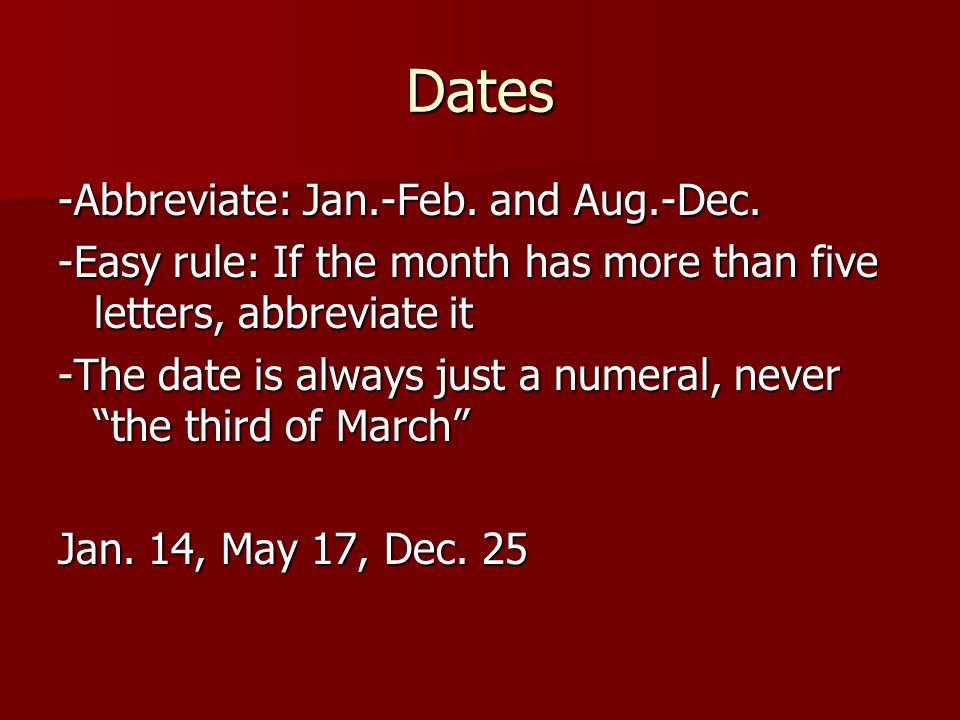 Dates Abbreviate Jan Feb And Aug Dec