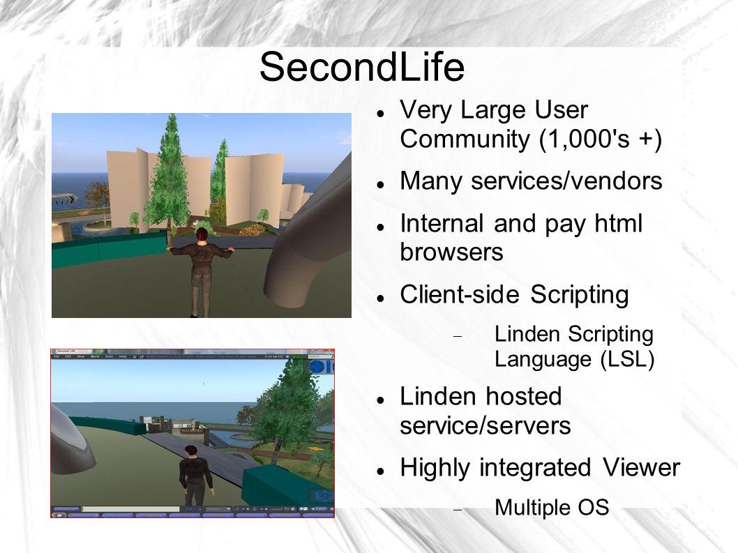 Virtual World Survey SecondLife (proprietary), OpenSim