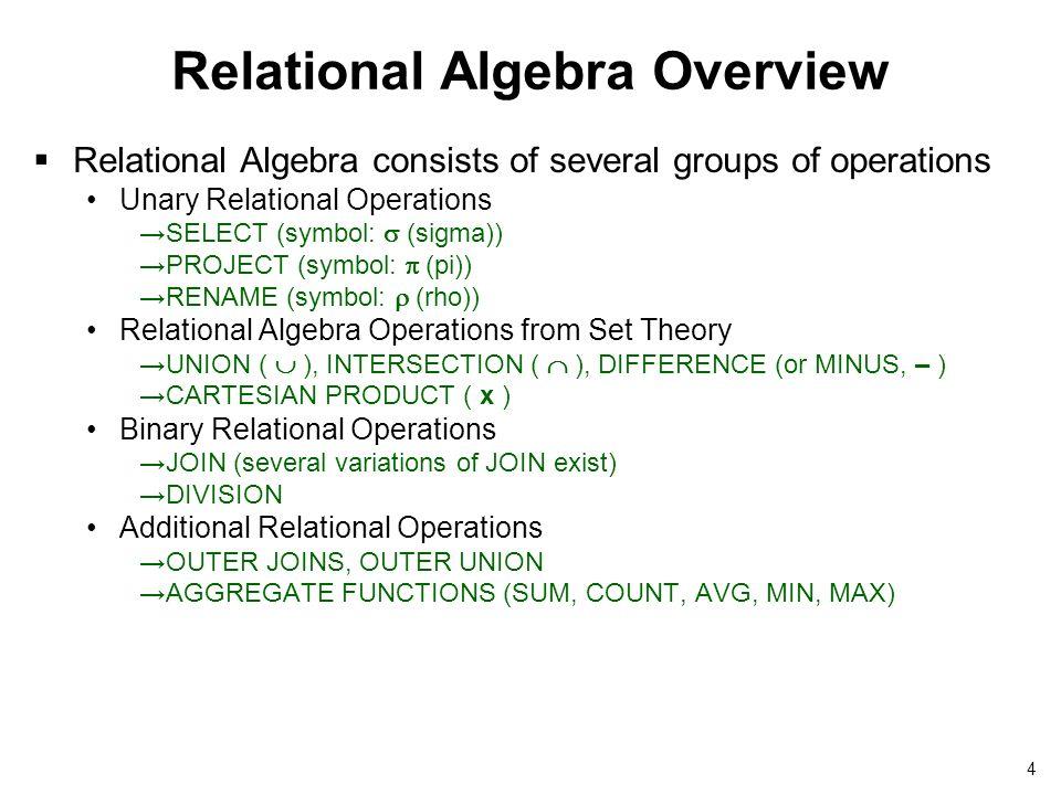 Relational Algebra 2 Outline Relational Algebra Unary Relational