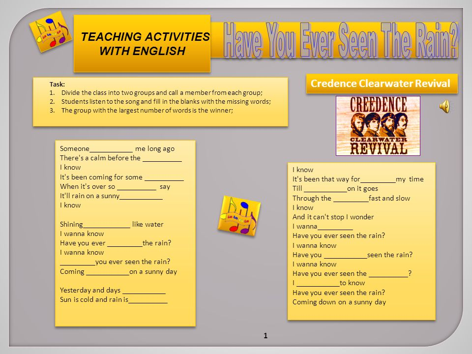 TEACHING ACTIVITIES WITH ENGLISH Task: 1 Divide the class into two