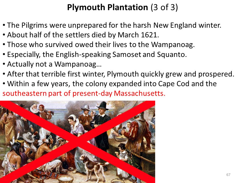 67 Plymouth Plantation (3 of 3) The Pilgrims were unprepared for the harsh New England winter.