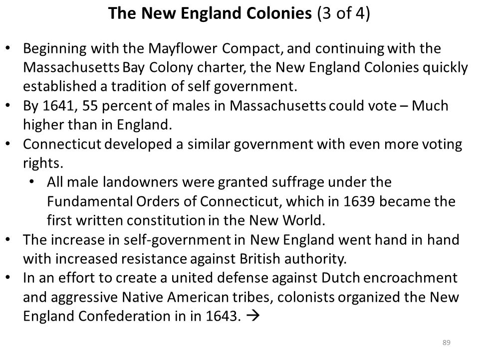 89 The New England Colonies (3 of 4) Beginning with the Mayflower Compact, and continuing with the Massachusetts Bay Colony charter, the New England Colonies quickly established a tradition of self government.