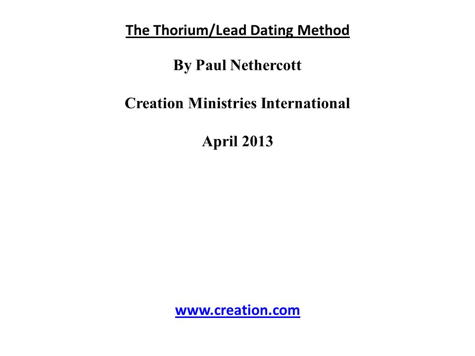 thorium lead dating