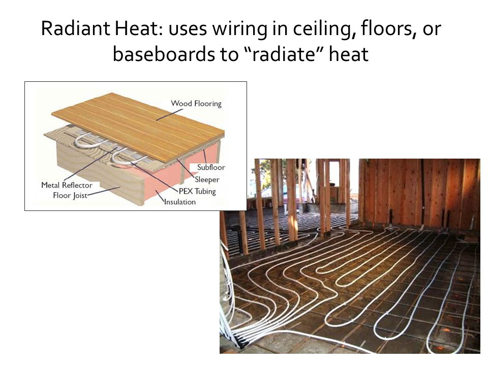 Radiant Heat: uses wiring in ceiling, floors, or baseboards to radiate heat