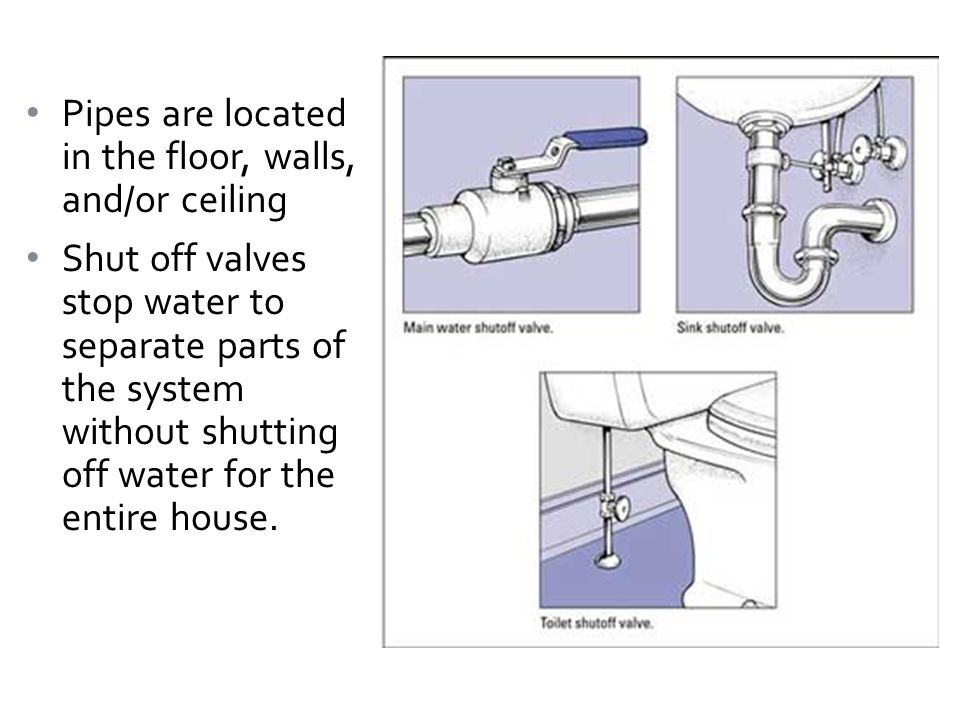 Pipes are located in the floor, walls, and/or ceiling Shut off valves stop water to separate parts of the system without shutting off water for the entire house.