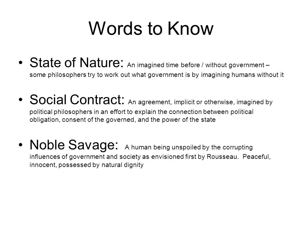 Some More Philosophers Words To Know State Of Nature Social