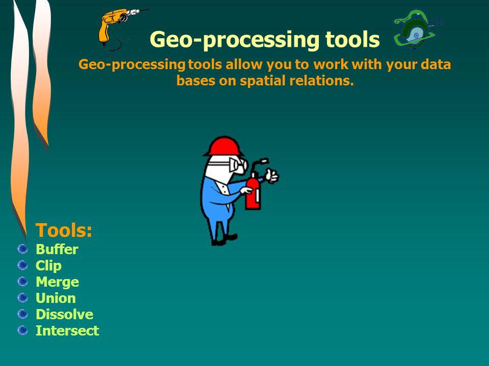 Geo-processing tools Tools: Buffer Geo-processing tools