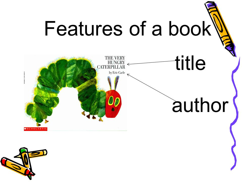 Features of a book title author