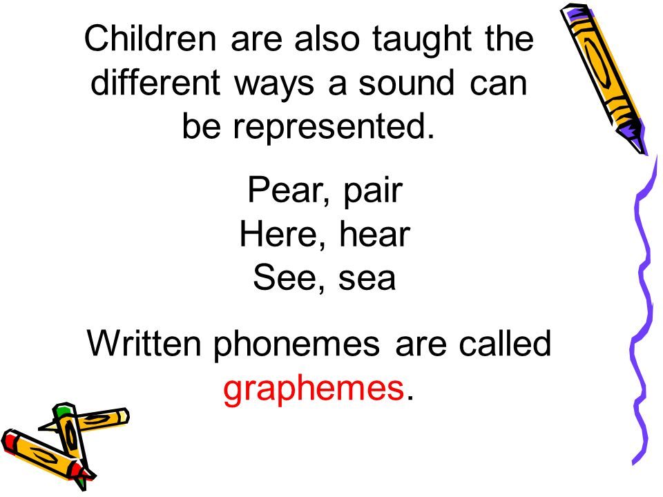 Children are also taught the different ways a sound can be represented.