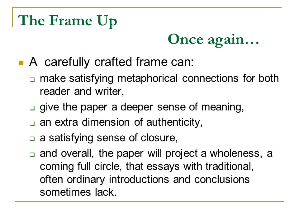 It\'s a Frame Up: Devising Beginnings and Endings, Introductions and ...