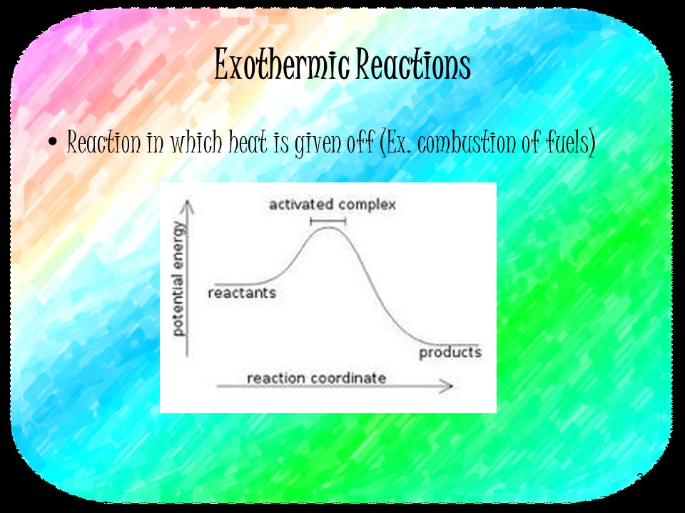 Exothermic Reactions Reaction in which heat is given off (Ex. combustion of fuels) 3