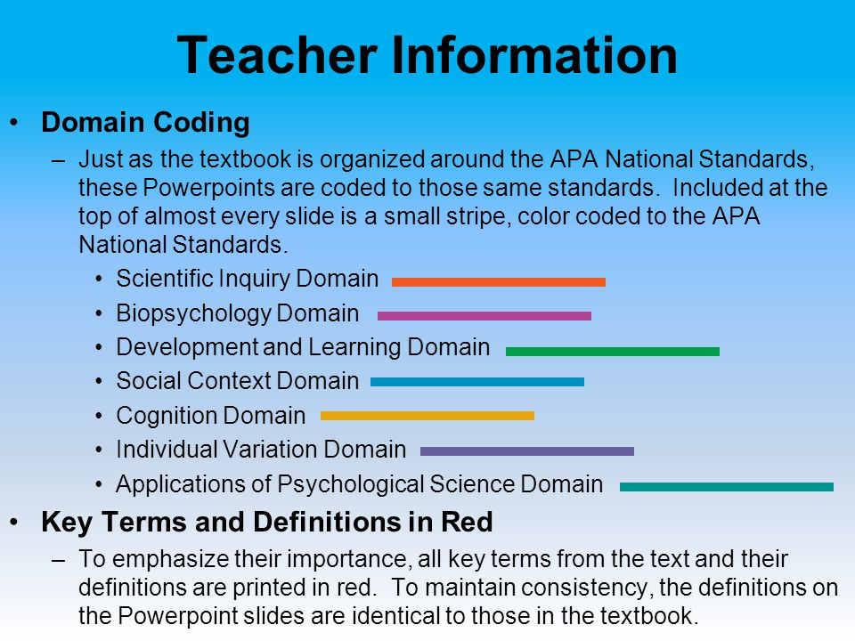 Teacher Information Domain Coding –Just as the textbook is organized around the APA National Standards, these Powerpoints are coded to those same standards.