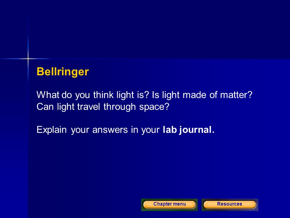 ResourcesChapter menu Bellringer What do you think light is.