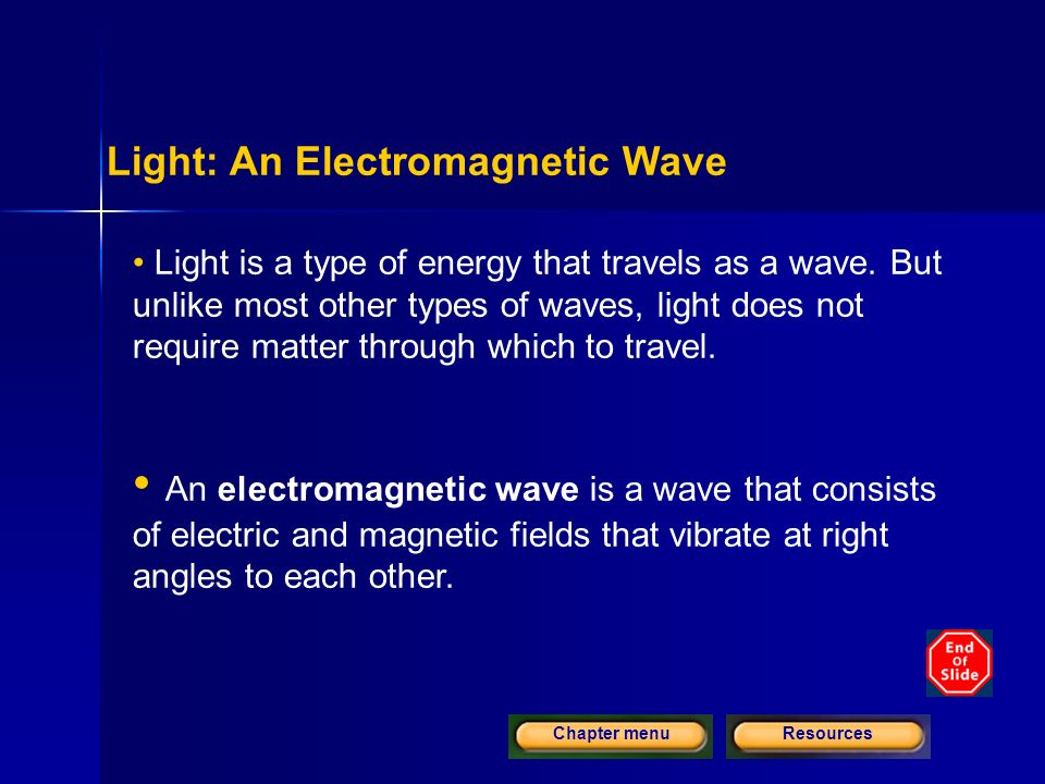 ResourcesChapter menu Light: An Electromagnetic Wave Light is a type of energy that travels as a wave.