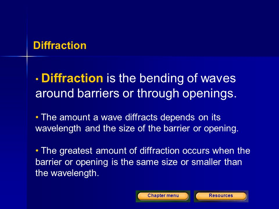 ResourcesChapter menu Diffraction Diffraction is the bending of waves around barriers or through openings.
