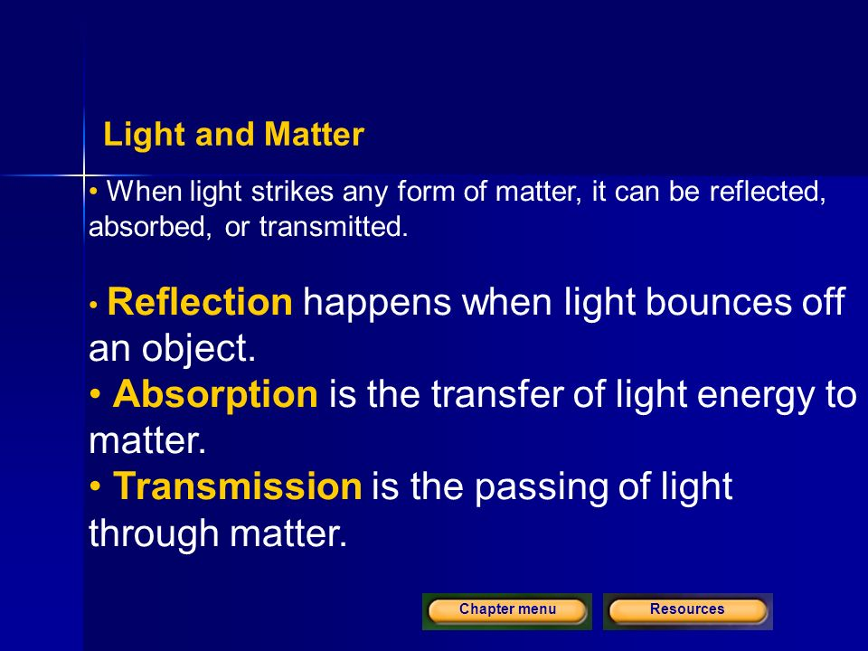 ResourcesChapter menu Light and Matter When light strikes any form of matter, it can be reflected, absorbed, or transmitted.