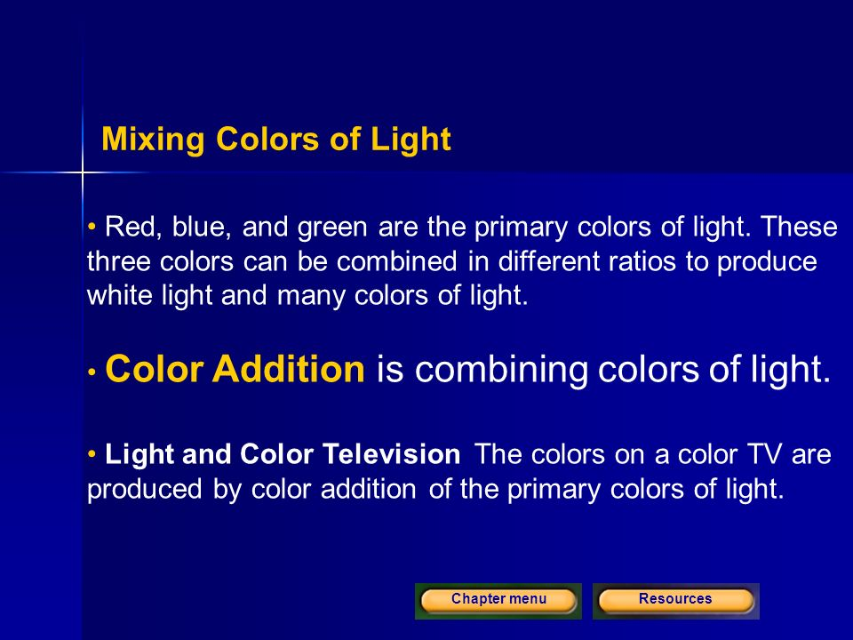ResourcesChapter menu Mixing Colors of Light Red, blue, and green are the primary colors of light.