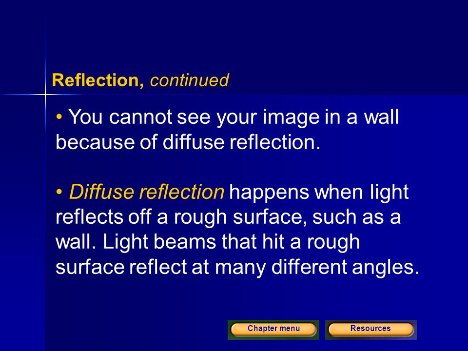 ResourcesChapter menu Reflection, continued You cannot see your image in a wall because of diffuse reflection.