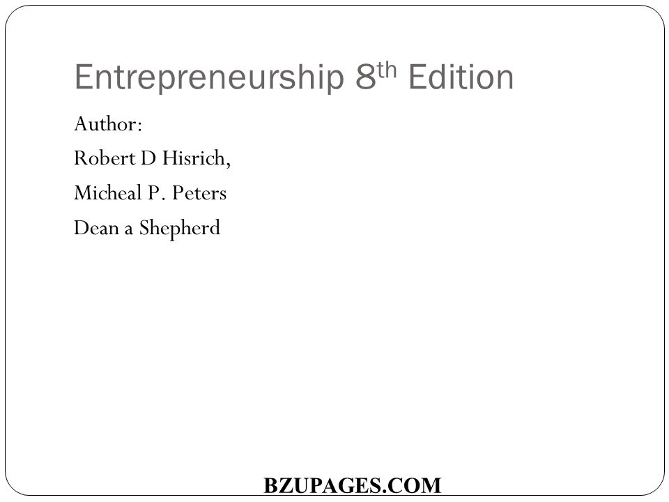 entrepreneurship by robert d hisrich 8th edition free download