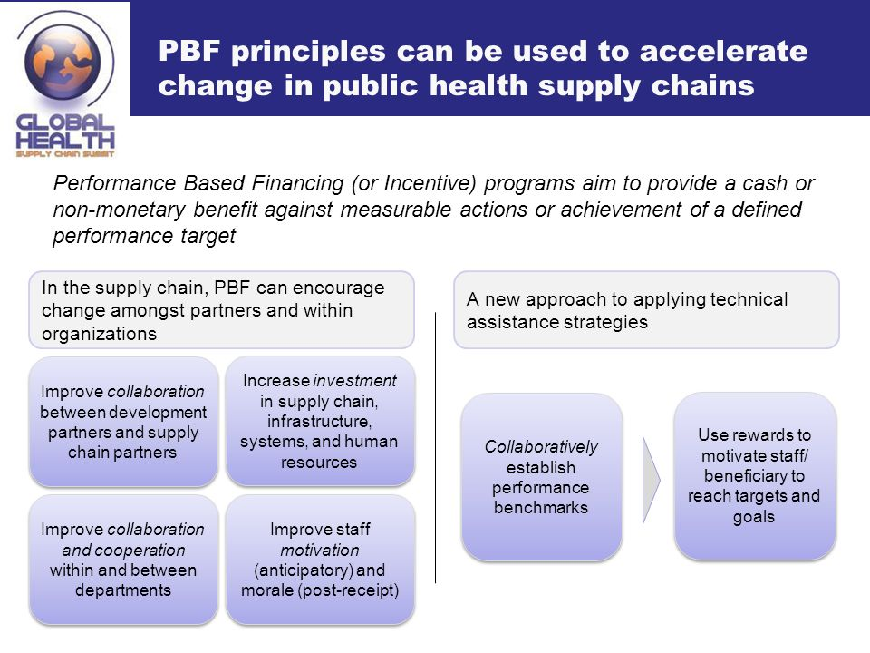 PBF principles can be used to accelerate change in public health supply chains Performance Based Financing (or Incentive) programs aim to provide a cash or non-monetary benefit against measurable actions or achievement of a defined performance target In the supply chain, PBF can encourage change amongst partners and within organizations Improve staff motivation (anticipatory) and morale (post-receipt) Increase investment in supply chain, infrastructure, systems, and human resources Improve collaboration and cooperation within and between departments Improve collaboration between development partners and supply chain partners A new approach to applying technical assistance strategies Use rewards to motivate staff/ beneficiary to reach targets and goals Collaboratively establish performance benchmarks