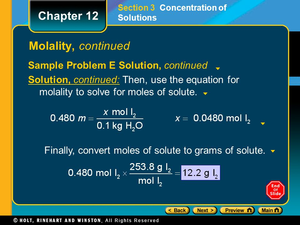 Preview Objectives Concentration Molarity Molality Chapter 12