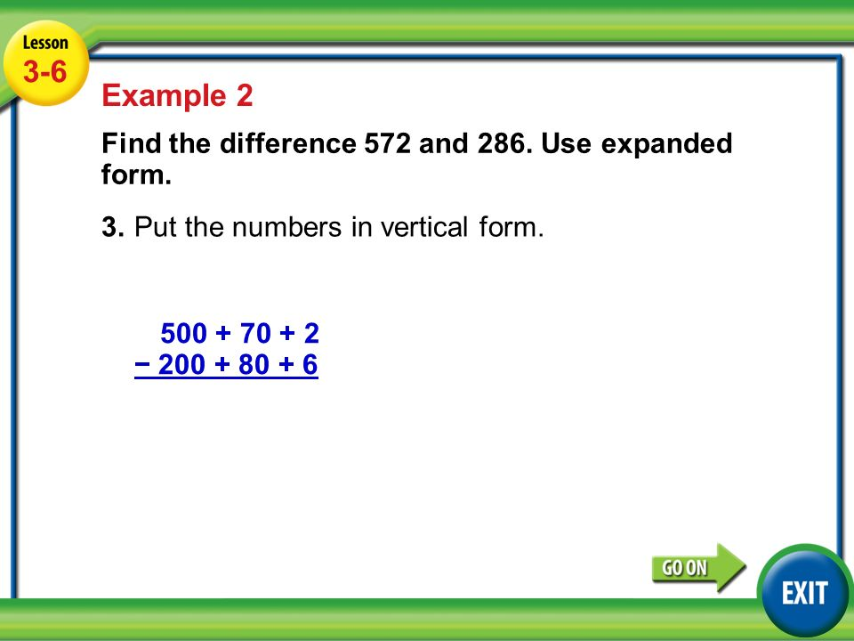 expanded form of 70  Lesson 10-10 Example Example 10 Find the difference 5710 and 10810 ...