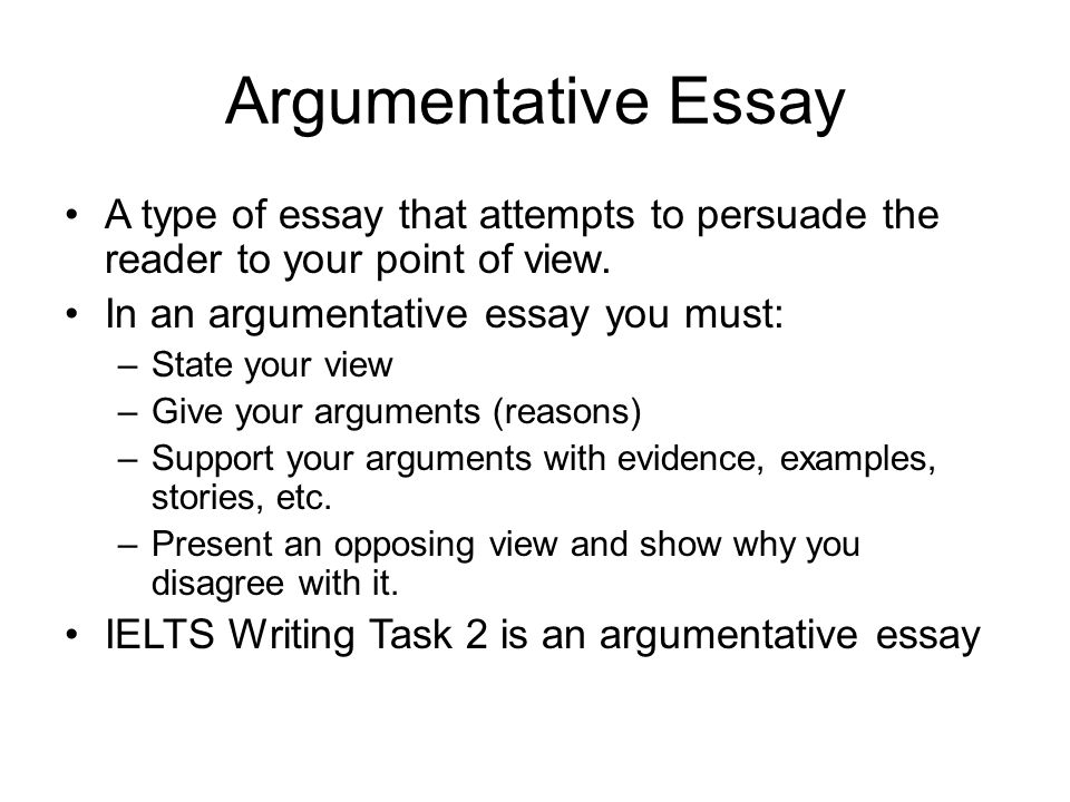 Argumentative essays argumentative essay a type of essay that